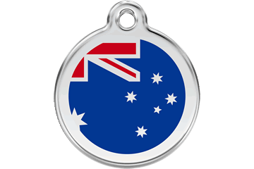 Red Dingo Enamel Tag Australian Flag Dark Blue 01-AU-DB (1AUNS / 1AUNM / 1AUNL)