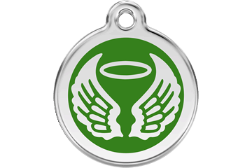 Red Dingo Enamel Tag Angel Wings Green 01-AW-GR (1AWGS / 1AWGM / 1AWGL)