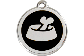 Red Dingo Enamel Tag Bone In Bowl Black 01-BB-BB (1BBBS / 1BBBM / 1BBBL)