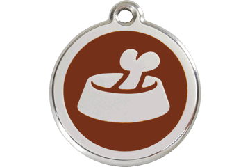 Red Dingo Enamel Tag Bone In Bowl Marrone 01-BB-BR (1BBBRS / 1BBBRM / 1BBBRL)