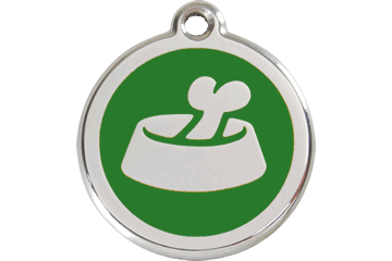 Red Dingo Enamel Tag Bone In Bowl Verde 01-BB-GR (1BBGS / 1BBGM / 1BBGL)