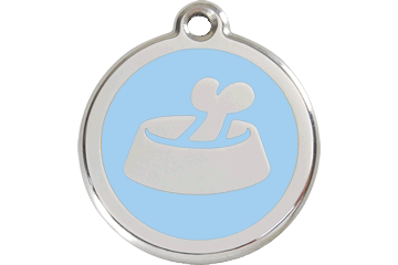Red Dingo Enamel Tag Bone In Bowl Light Blue 01-BB-LB (1BBLBS / 1BBLBM / 1BBLBL)