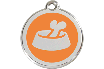 Red Dingo Médaille en émail Os dans gamelle Orange 01-BB-OR (1BBOS / 1BBOM / 1BBOL)