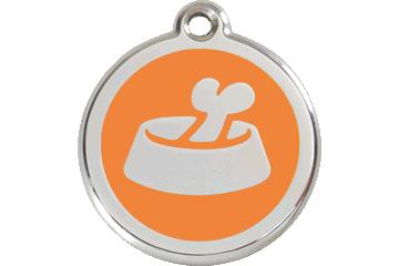 Red Dingo Tiermarke mit Emaille Bone In Bowl Orange 01-BB-OR (1BBOS / 1BBOM / 1BBOL)