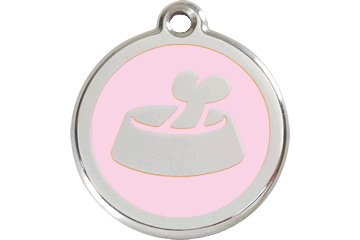 Red Dingo Enamel Tag Bone In Bowl Pink 01-BB-PK (1BBPKS / 1BBPKM / 1BBPKL)
