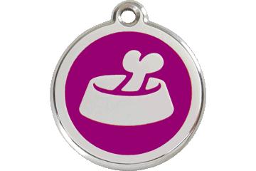 Red Dingo Tiermarke mit Emaille Bone In Bowl Violett 01-BB-PU (1BBPS / 1BBPM / 1BBPL)
