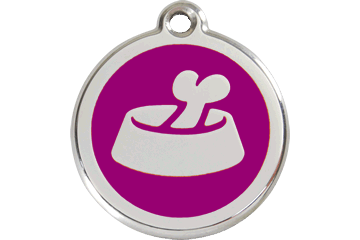 Red Dingo Enamel Tag Bone In Bowl Purple 01-BB-PU (1BBPS / 1BBPM / 1BBPL)