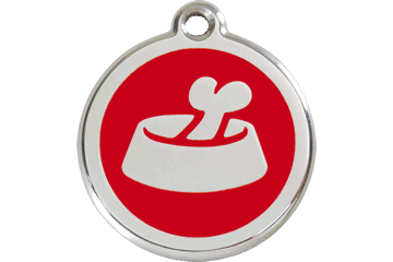 Red Dingo Enamel Tag Bone In Bowl Red 01-BB-RE (1BBRS / 1BBRM / 1BBRL)