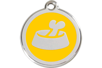 Red Dingo Enamel Tag Bone In Bowl Yellow 01-BB-YE (1BBYS / 1BBYM / 1BBYL)