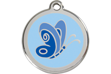 Red Dingo Tiermarke mit Emaille Butterfly Hellblau 01-BL-LB (1BLLBS / 1BLLBM / 1BLLBL)