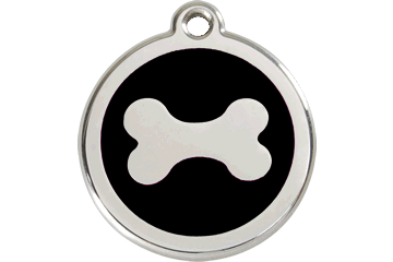 Red Dingo Enamel Tag Bone Black 01-BN-BB (1BNBS / 1BNBM / 1BNBL)