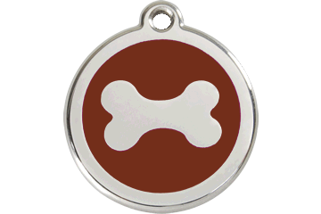 Red Dingo Enamel Tag Bone Brown 01-BN-BR (1BNBRS / 1BNBRM / 1BNBRL)