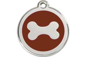Red Dingo Enamel Tag Bone Brown 01-BN-BR (1BNBRS / 1BNBRM / 1BNBRL)