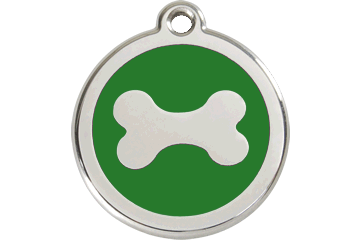 Red Dingo Enamel Tag Bone Green 01-BN-GR (1BNGS / 1BNGM / 1BNGL)