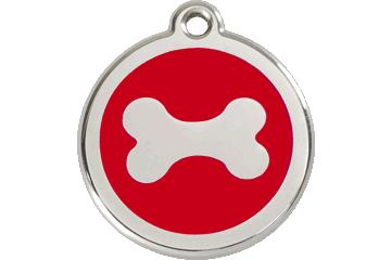 Red Dingo Enamel Tag Bone Red 01-BN-RE (1BNRS / 1BNRM / 1BNRL)