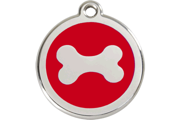 Red Dingo Enamel Tag Bone Red 01-BN-RE (1BNRS / 1BNRM / 1BNRL)