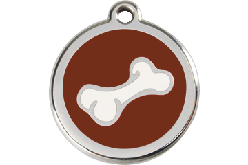 Red Dingo Enamel Tag Bone Brown 01-BO-BR (1BOBRS / 1BOBRM / 1BOBRL)