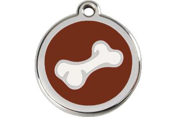 Red Dingo Enamel Tag Bone Brown 01-BO-BR (1BOBRS / 1BOBRM / 1BOBRL)