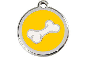 Red Dingo Enamel Tag Bone Yellow 01-BO-YE (1BOYS / 1BOYM / 1BOYL)