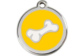 Red Dingo Enamel Tag Bone Yellow 01-BO-YE (1BOYS / 1BOYM / 1BOYL)