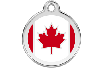 Red Dingo Enamel Tag Canadian Flag Red 01-CA-RE (1CASL / 1CARM / 1CARS)
