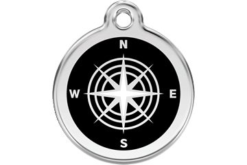 Red Dingo Enamel Tag Compass Black 01-CM-BB (1CMBS / 1CMBM / 1CMBL)