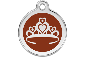 Red Dingo Enamel Tag Crown Marrone 01-CR-BR (1CRBRS / 1CRBRM / 1CRBRL)