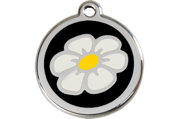 Red Dingo Enamel Tag Daisy Black 01-DA-BB (1DABS / 1DABM / 1DABL)
