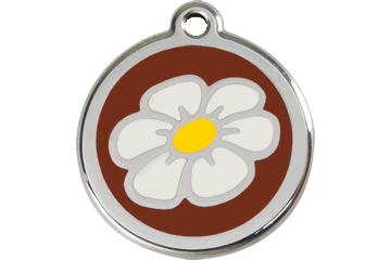 Red Dingo Enamel Tag Daisy Brown 01-DA-BR (1DABRS / 1DABRM / 1DABRL)