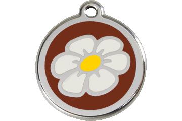 Red Dingo Tiermarke mit Emaille Gänseblümchen Braun 01-DA-BR (1DABRS / 1DABRM / 1DABRL)