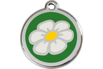 Red Dingo Tiermarke mit Emaille Gänseblümchen Grün 01-DA-GR (1DAGS / 1DAGM / 1DAGL)