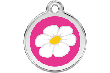 Red Dingo Enamel Tag Daisy Hot Pink 01-DA-HP (1DAHPS / 1DAHPM / 1DAHPL)