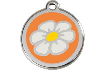 Red Dingo Enamel Tag Daisy Orange 01-DA-OR (1DAOS / 1DAOM / 1DAOL)