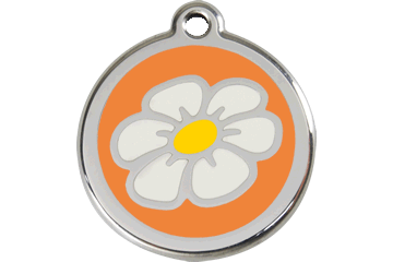 Red Dingo Enamel Tag Daisy Orange 01-DA-OR (1DAOS / 1DAOM / 1DAOL)