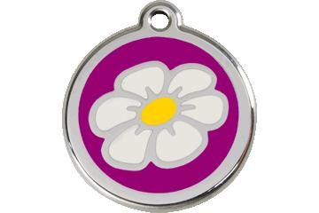 Red Dingo Tiermarke mit Emaille Gänseblümchen Violett 01-DA-PU (1DAPS / 1DAPM / 1DAPL)
