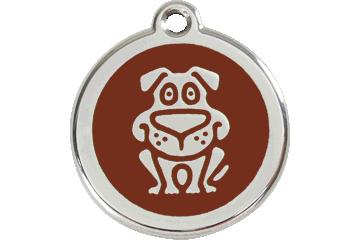 Red Dingo Enamel Tag Dog Brown 01-DG-BR (1DGBRS / 1DGBRM / 1DGBRL)