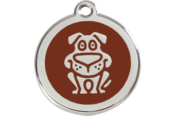 Red Dingo Enamel Tag Dog Brown 01-DG-BR (1DGBRS / 1DGBRM / 1DGBRL)