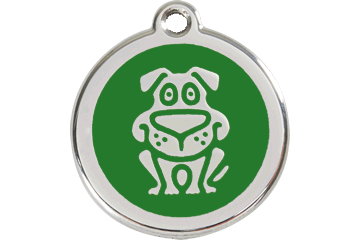 Red Dingo Médaillon en émail Chien Vert 01-DG-GR (1DGGS / 1DGGM / 1DGGL)