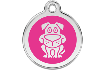 Red Dingo Enamel Tag Dog Hot Pink 01-DG-HP (1DGHPS / 1DGHPM / 1DGHPL)