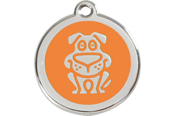 Red Dingo Enamel Tag Dog Orange 01-DG-OR (1DGOS / 1DGOM / 1DGOL)