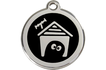 Red Dingo Enamel Tag Dog House Nero 01-DH-BB (1DHBS / 1DHBM / 1DHBL)