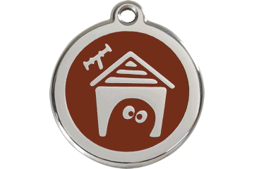 Red Dingo Enamel Tag Dog House Brown 01-DH-BR (1DHBRS / 1DHBRM / 1DHBRL)