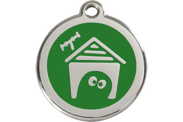 Red Dingo Enamel Tag Dog House Verde 01-DH-GR (1DHGS / 1DHGM / 1DHGL)