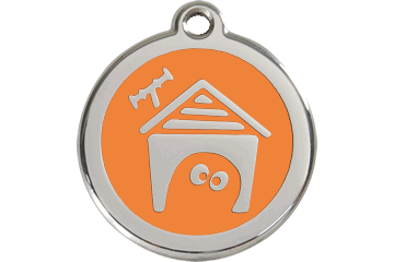 Red Dingo Enamel Tag Dog House Arancione 01-DH-OR (1DHOS / 1DHOM / 1DHOL)