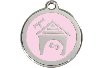 Red Dingo Enamel Tag Dog House Rosa 01-DH-PK (1DHPKS / 1DHPKM / 1DHPKL)
