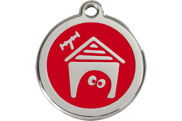 Red Dingo Enamel Tag Dog House Rosso 01-DH-RE (1DHRS / 1DHRM / 1DHRL)