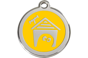 Red Dingo Enamel Tag Dog House Yellow 01-DH-YE (1DHYS / 1DHYM / 1DHYL)