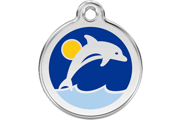 Red Dingo Enamel Tag Dolphin Dark Blue 01-DL-DB (1DLNS / 1DLNM / 1DLNL)