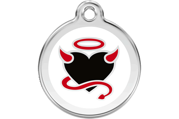 Red Dingo Enamel Tag Devil White 01-DV-WT (1DVWS / 1DVWM / 1DVWL)
