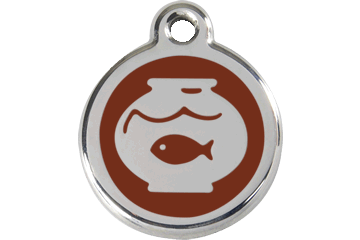 Red Dingo Enamel Tag Fish Bowl Brown 01-FB-BR (1FBBRS)